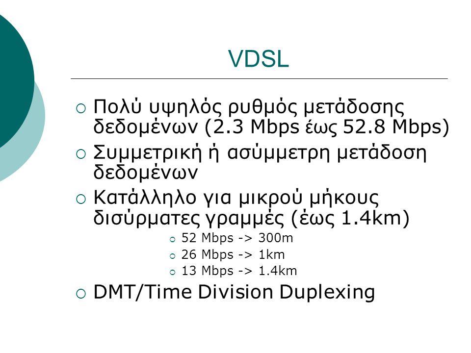 VDSL Πολύ υψηλός ρυθμός μετάδοσης δεδομένων (2.3 Mbps έως 52.8 Mbps)
