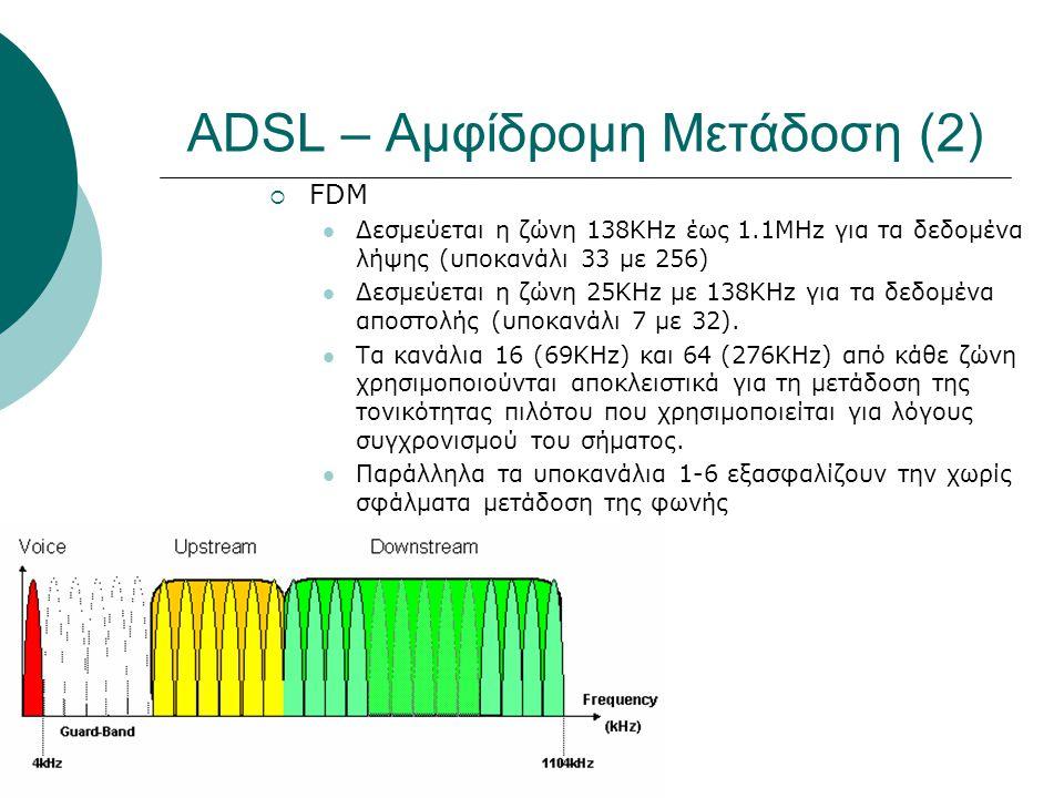 ADSL – Αμφίδρομη Μετάδοση (2)
