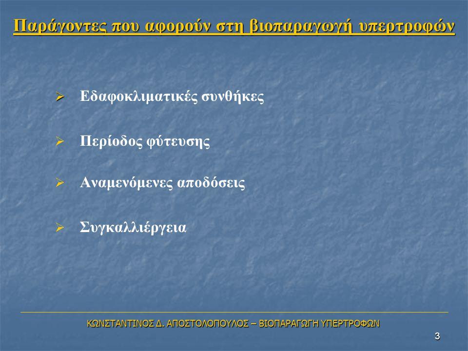 Παράγοντες που αφορούν στη βιοπαραγωγή υπερτροφών