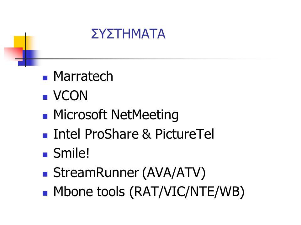 ΣΥΣΤΗΜΑΤΑ Marratech. VCON. Microsoft NetMeeting. Intel ProShare & PictureTel. Smile! StreamRunner (AVA/ATV)