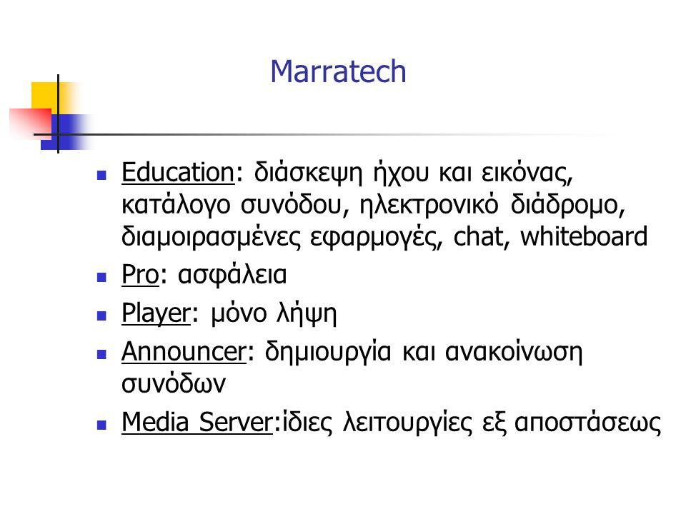 Marratech Education: διάσκεψη ήχου και εικόνας, κατάλογο συνόδου, ηλεκτρονικό διάδρομο, διαμοιρασμένες εφαρμογές, chat, whiteboard.