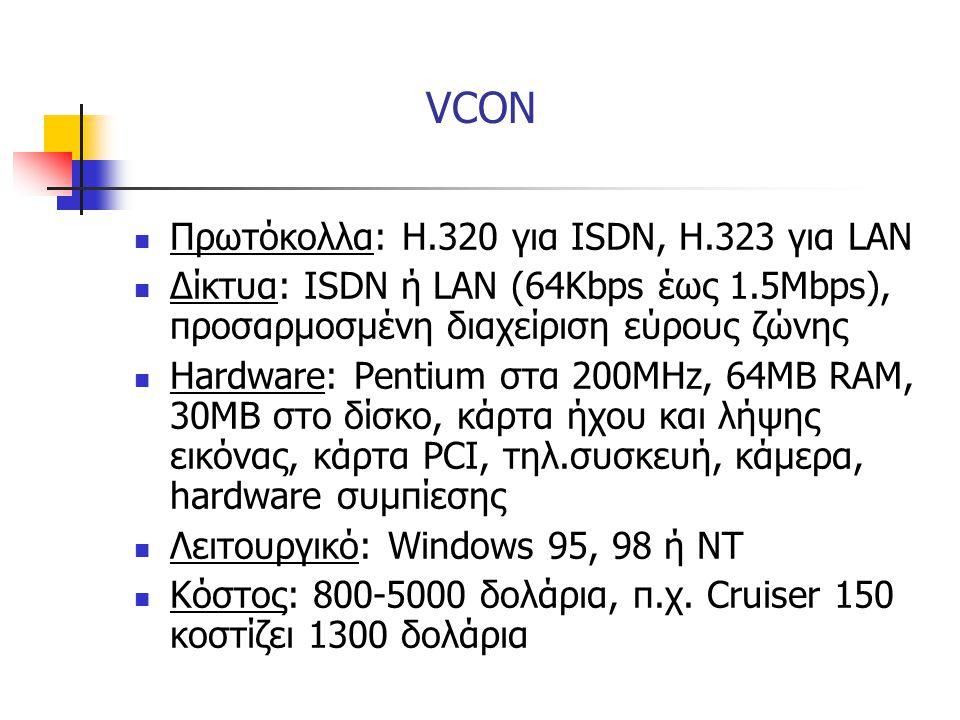 VCON Πρωτόκολλα: Η.320 για ISDN, Η.323 για LAN
