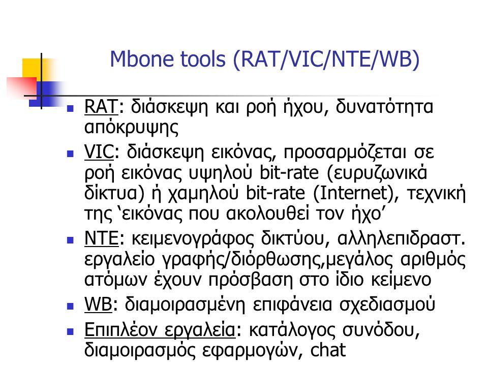 Mbone tools (RAT/VIC/NTE/WB)