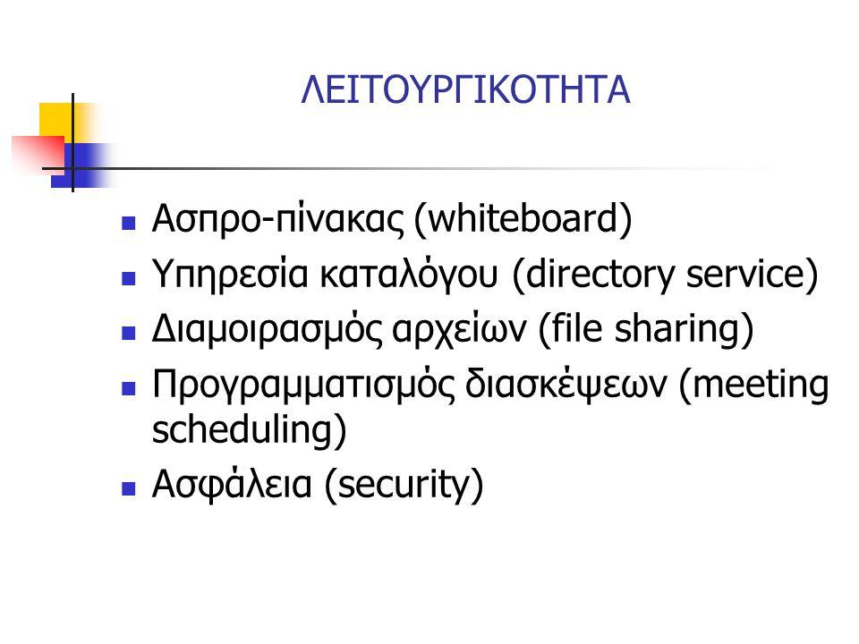 ΛΕΙΤΟΥΡΓΙΚΟΤΗΤΑ Ασπρο-πίνακας (whiteboard) Υπηρεσία καταλόγου (directory service) Διαμοιρασμός αρχείων (file sharing)