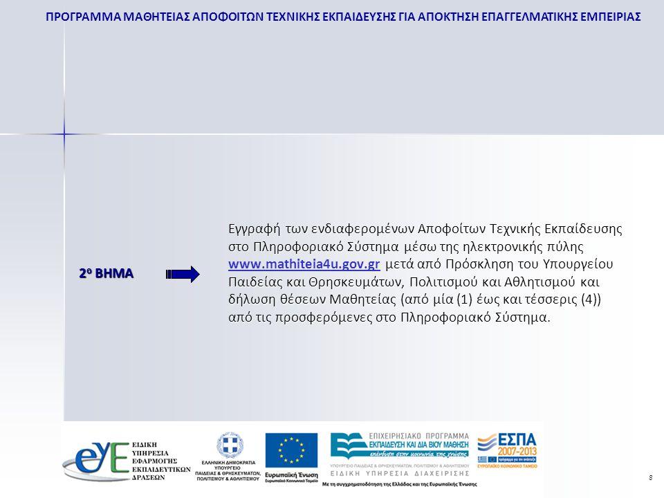Εγγραφή των ενδιαφερομένων Αποφοίτων Τεχνικής Εκπαίδευσης στο Πληροφοριακό Σύστημα μέσω της ηλεκτρονικής πύλης www.mathiteia4u.gov.gr μετά από Πρόσκληση του Υπουργείου Παιδείας και Θρησκευμάτων, Πολιτισμού και Αθλητισμού και δήλωση θέσεων Μαθητείας (από μία (1) έως και τέσσερις (4)) από τις προσφερόμενες στο Πληροφοριακό Σύστημα.