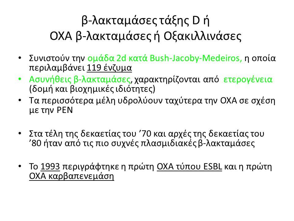 β-λακταμάσες τάξης D ή ΟΧΑ β-λακταμάσες ή Οξακιλλινάσες