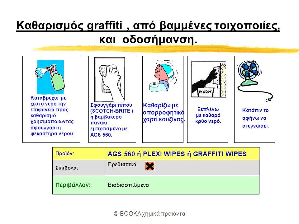 Καθαρισμός graffiti , από βαμμένες τοιχοποιίες, και οδοσήμανση.