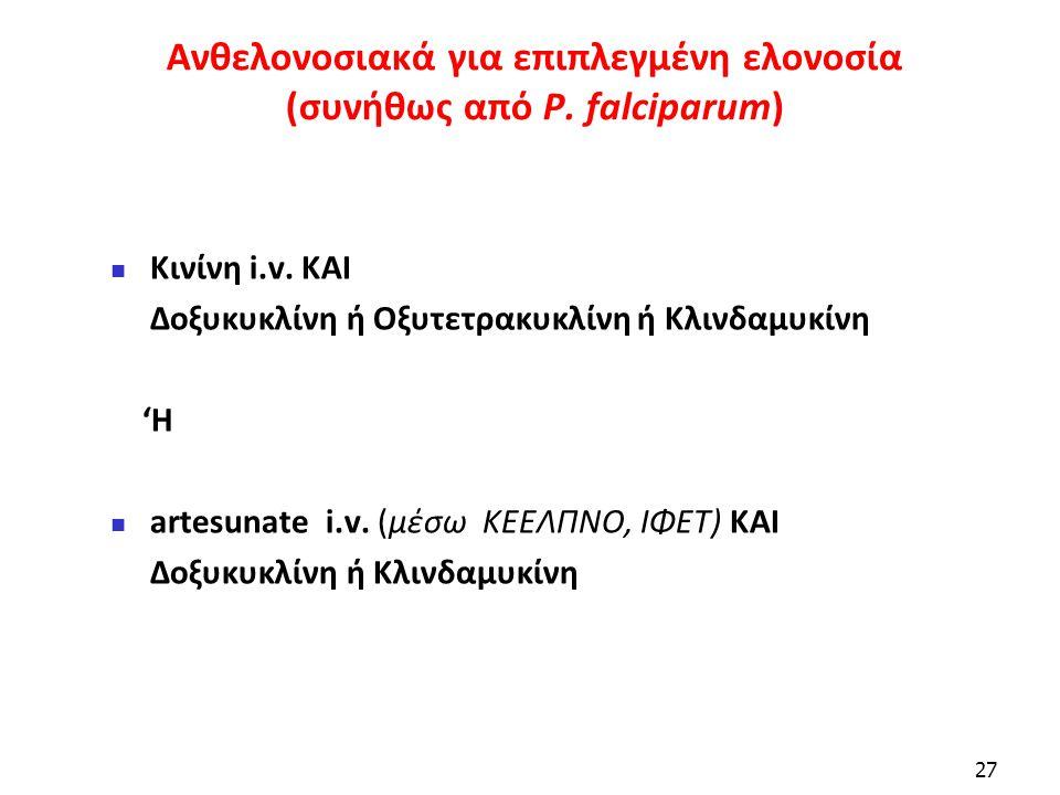Ανθελονοσιακά για επιπλεγμένη ελονοσία (συνήθως από P. falciparum)