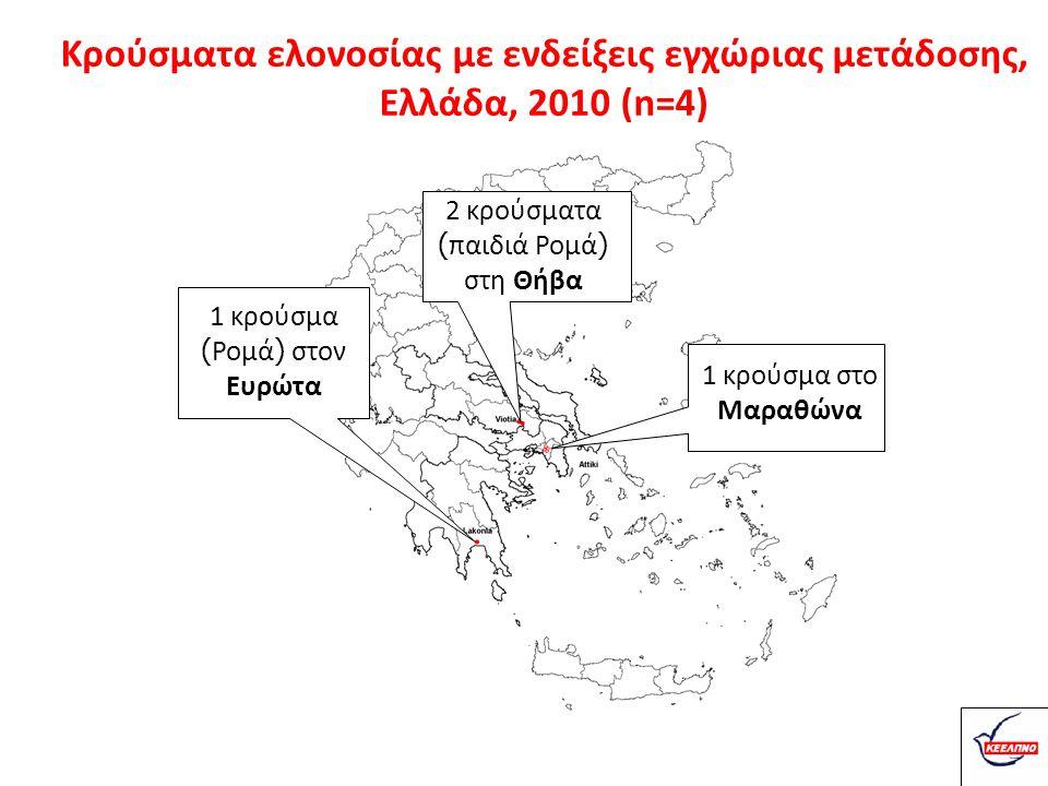 Κρούσματα ελονοσίας με ενδείξεις εγχώριας μετάδοσης, Ελλάδα, 2010 (n=4)