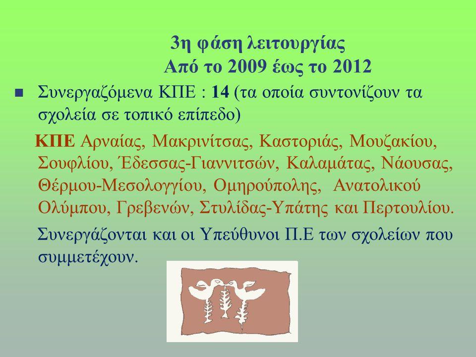 3η φάση λειτουργίας Από το 2009 έως το 2012