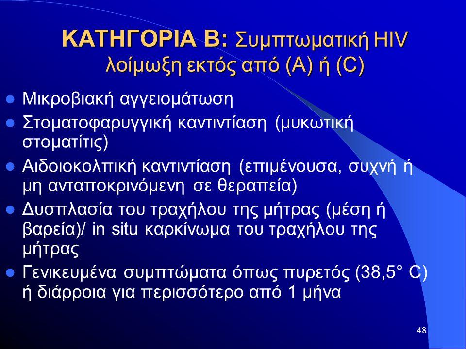 ΚΑΤΗΓΟΡΙΑ Β: Συμπτωματική HIV λοίμωξη εκτός από (Α) ή (C)
