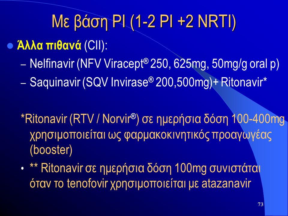 Με βάση PI (1-2 PI +2 NRTI) Άλλα πιθανά (CII):