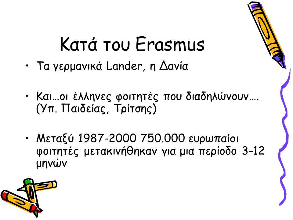 Κατά του Erasmus Τα γερμανικά Lander, η Δανία