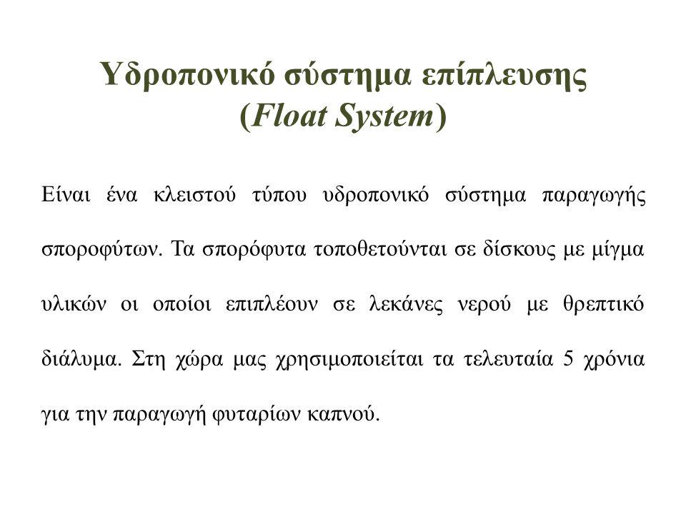 Υδροπονικό σύστημα επίπλευσης (Float System)