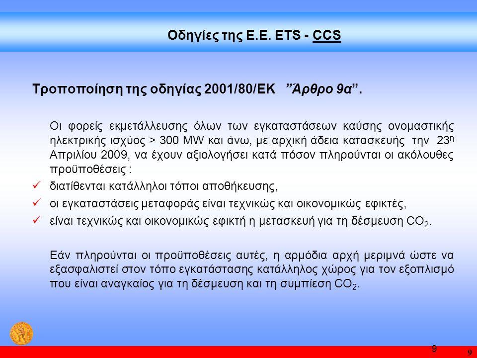 Τροποποίηση της οδηγίας 2001/80/ΕΚ Άρθρο 9α .