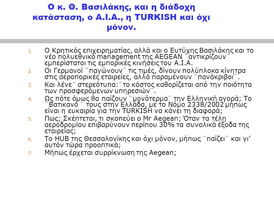 Ο κ. Θ. Βασιλάκης, και η διάδοχη κατάσταση, ο Α. Ι. Α