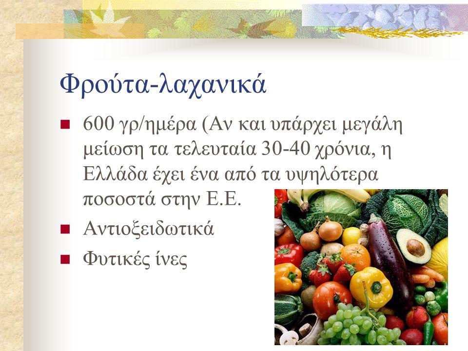 Φρούτα-λαχανικά 600 γρ/ημέρα (Αν και υπάρχει μεγάλη μείωση τα τελευταία 30-40 χρόνια, η Ελλάδα έχει ένα από τα υψηλότερα ποσοστά στην Ε.Ε.