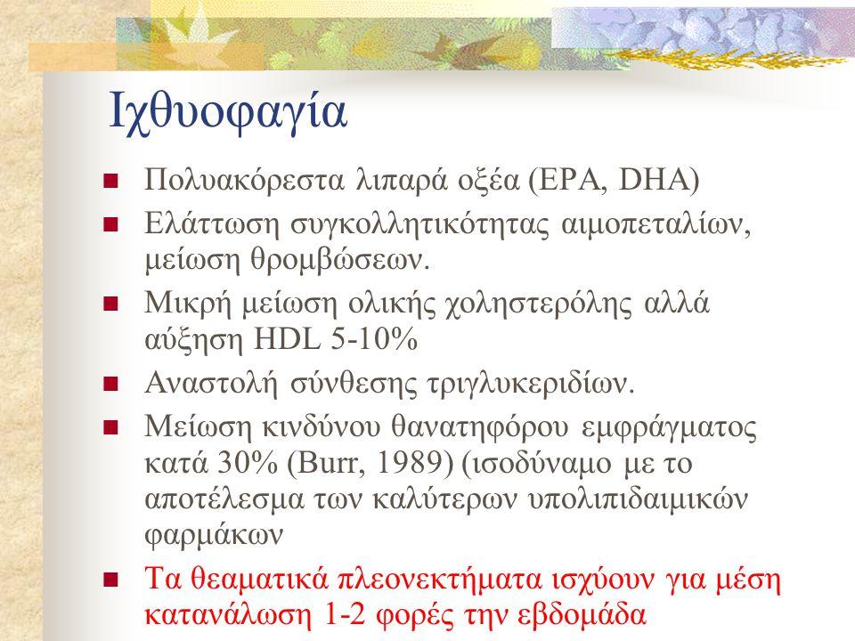 Ιχθυοφαγία Πολυακόρεστα λιπαρά οξέα (EPA, DHA)