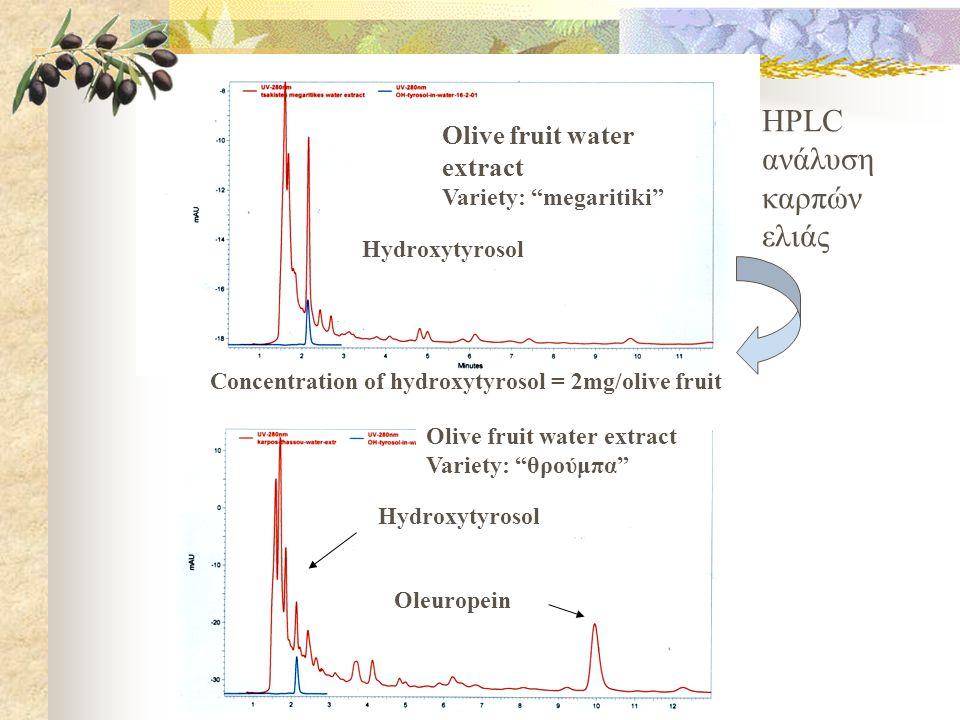 HPLC ανάλυση καρπών ελιάς