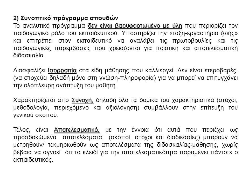 2) Συνοπτικό πρόγραμμα σπουδών