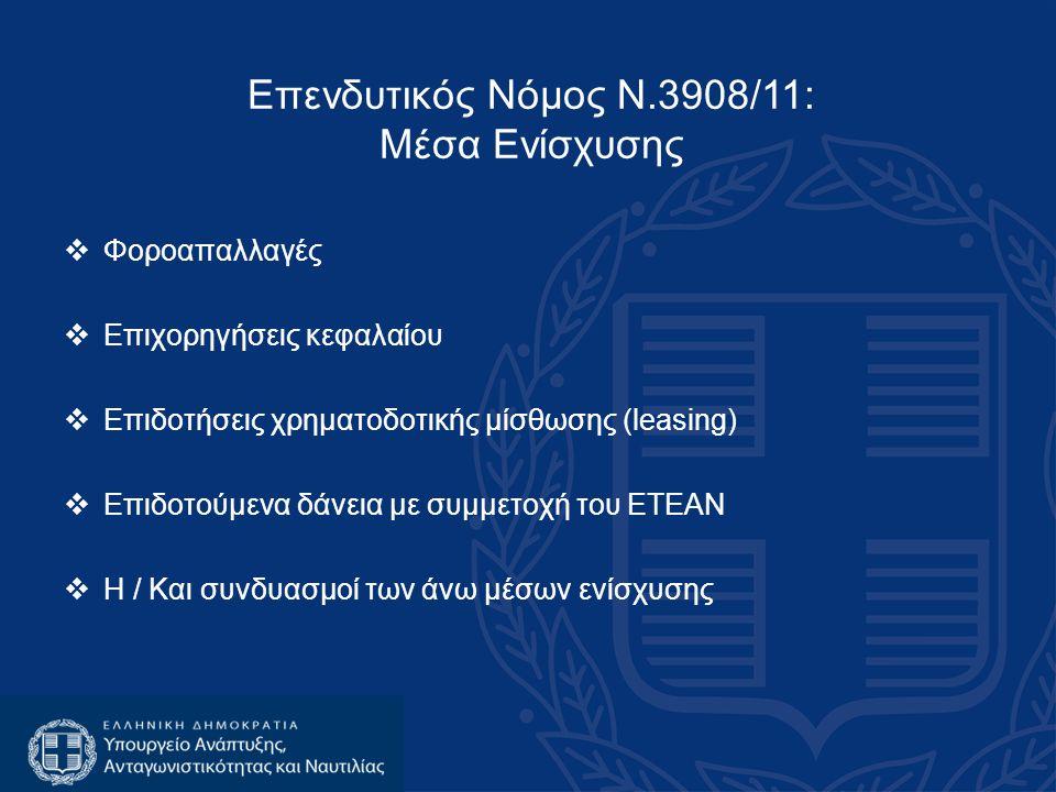 Επενδυτικός Νόμος Ν.3908/11: Μέσα Ενίσχυσης