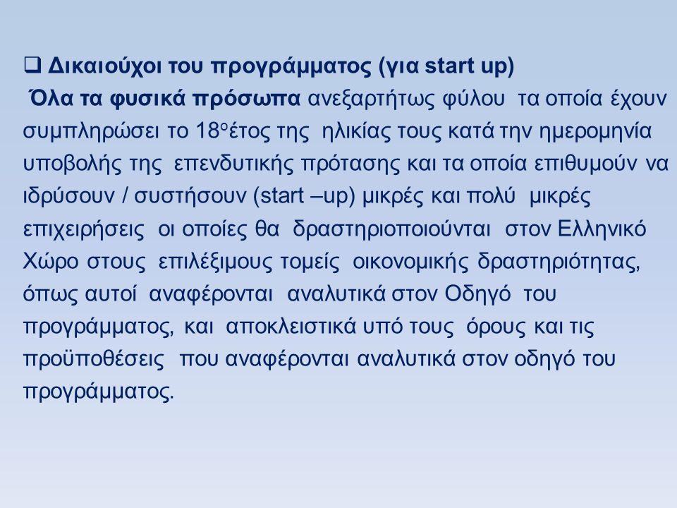 Δικαιούχοι του προγράμματος (για start up)