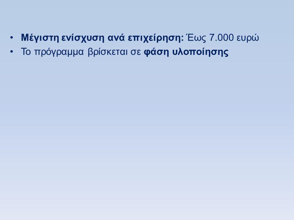 Μέγιστη ενίσχυση ανά επιχείρηση: Έως 7.000 ευρώ