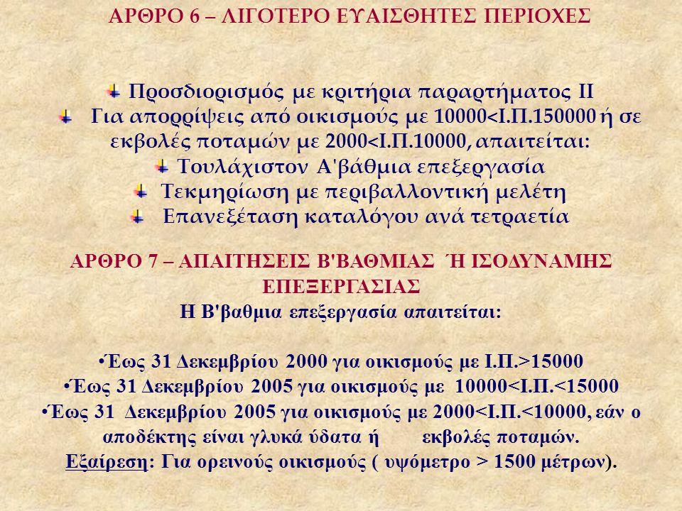 ΑΡΘΡΟ 6 – ΛΙΓΟΤΕΡΟ ΕΥΑΙΣΘΗΤΕΣ ΠΕΡΙΟΧΕΣ