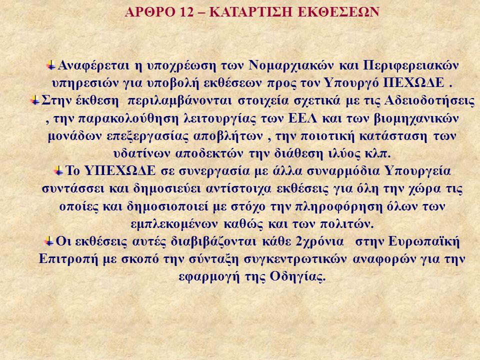 ΑΡΘΡΟ 12 – ΚΑΤΑΡΤΙΣΗ ΕΚΘΕΣΕΩΝ