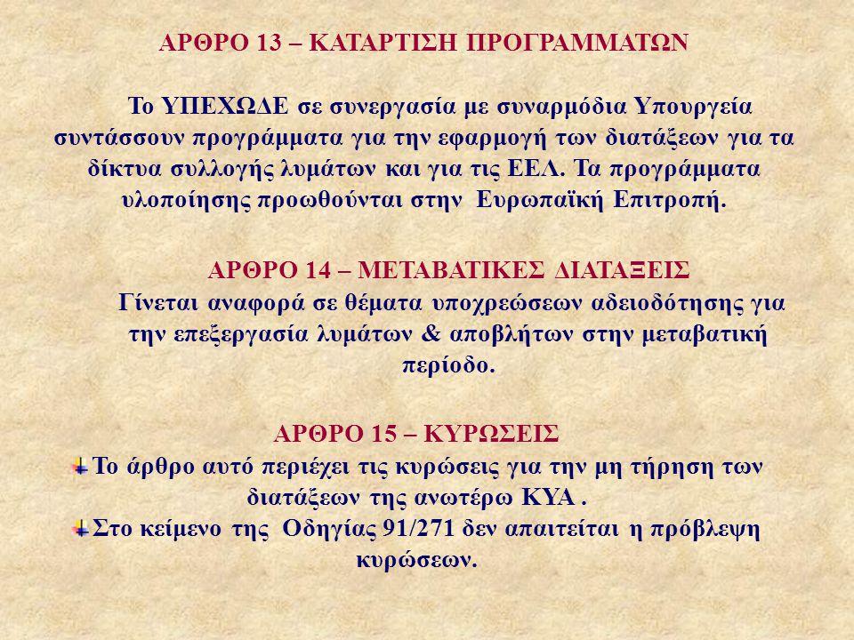 ΑΡΘΡΟ 13 – ΚΑΤΑΡΤΙΣΗ ΠΡΟΓΡΑΜΜΑΤΩΝ