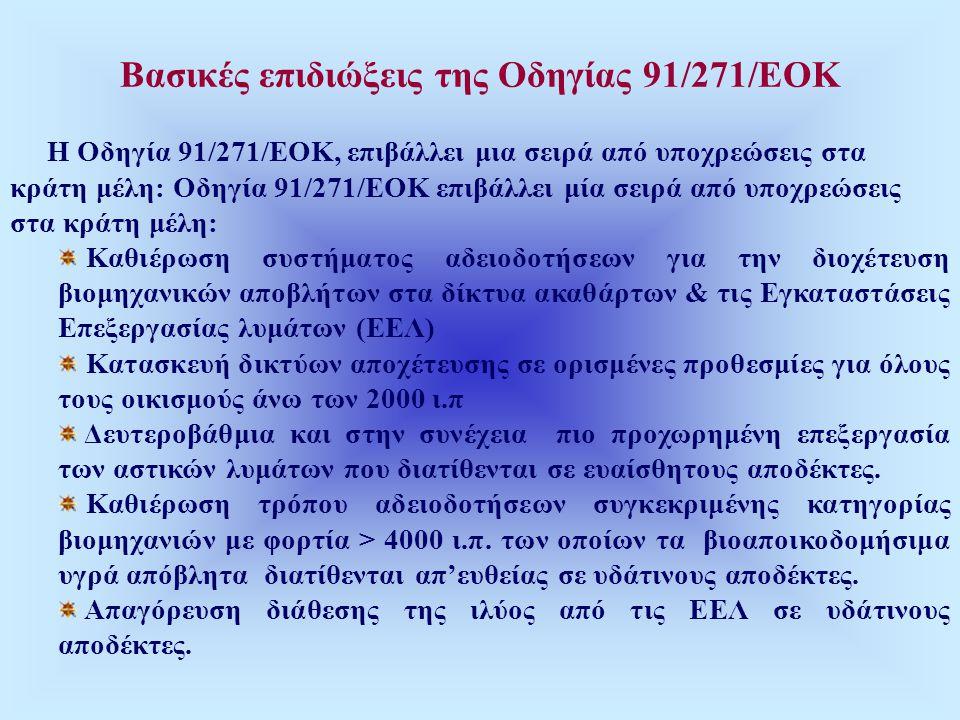 Βασικές επιδιώξεις της Οδηγίας 91/271/ΕΟΚ