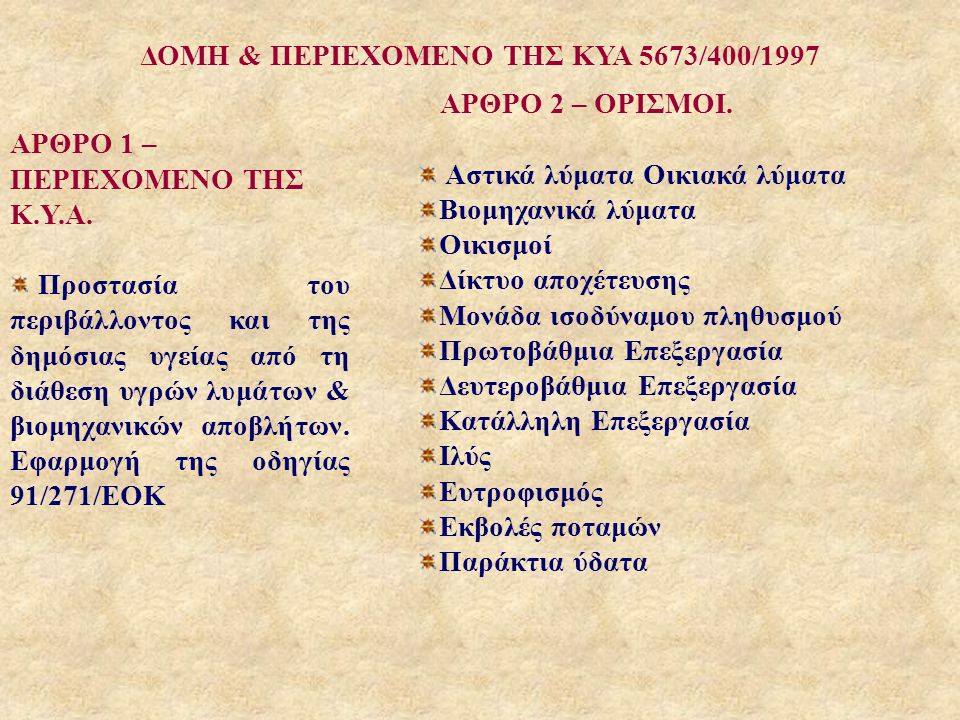 ΔΟΜΗ & ΠΕΡΙΕΧΟΜΕΝΟ ΤΗΣ ΚΥΑ 5673/400/1997