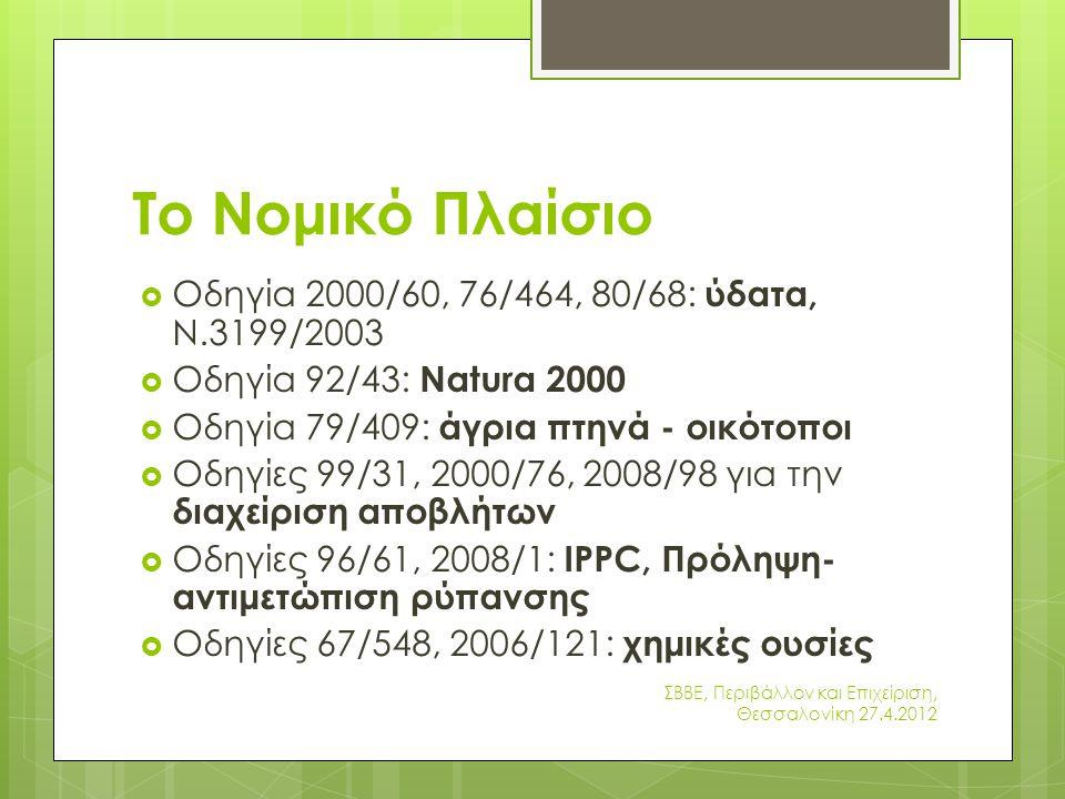 Το Νομικό Πλαίσιο Οδηγία 2000/60, 76/464, 80/68: ύδατα, Ν.3199/2003