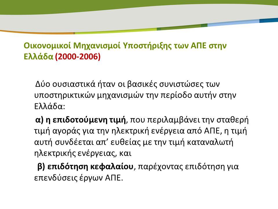 Οικονομικοί Μηχανισμοί Υποστήριξης των ΑΠΕ στην Ελλάδα (2000-2006)