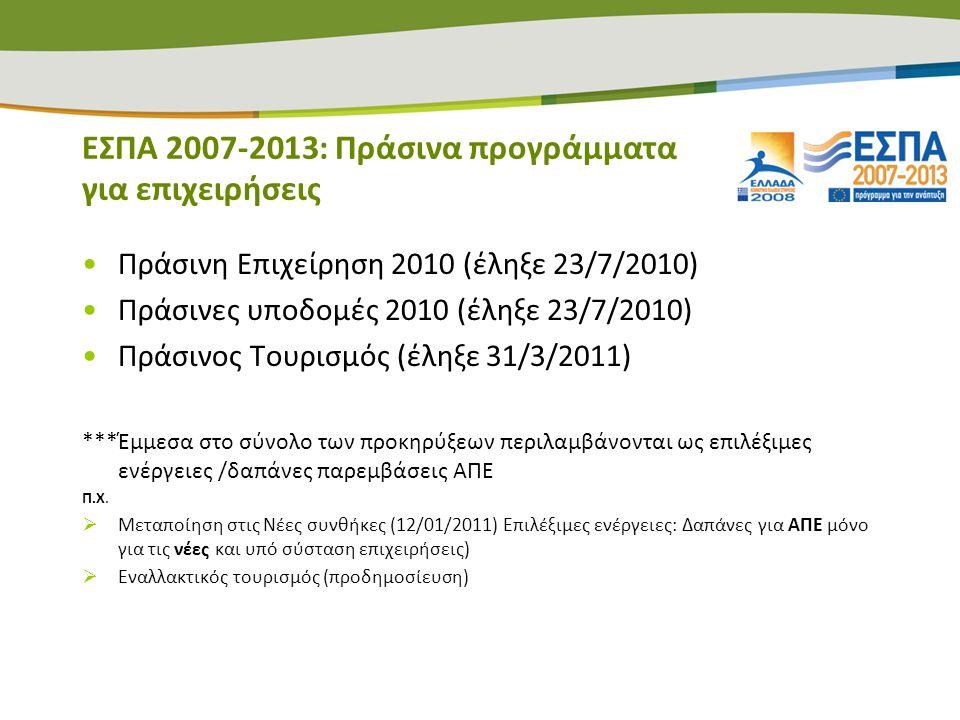 ΕΣΠΑ 2007-2013: Πράσινα προγράμματα για επιχειρήσεις