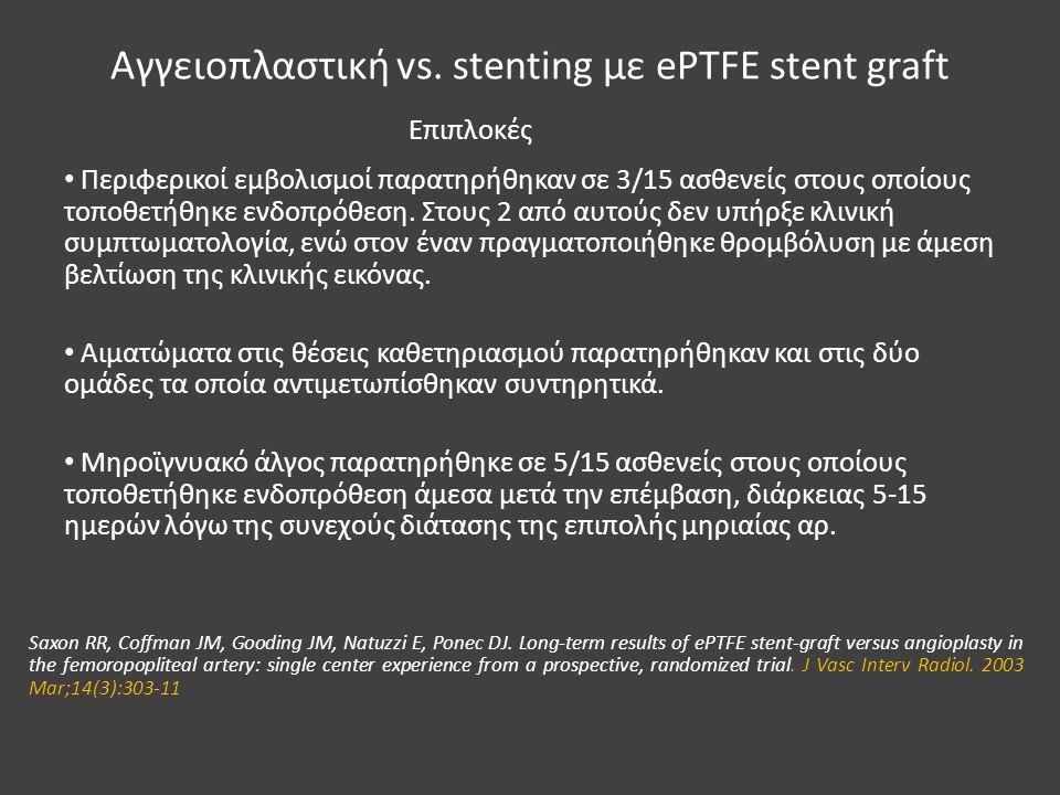 Αγγειοπλαστική vs. stenting με ePTFE stent graft