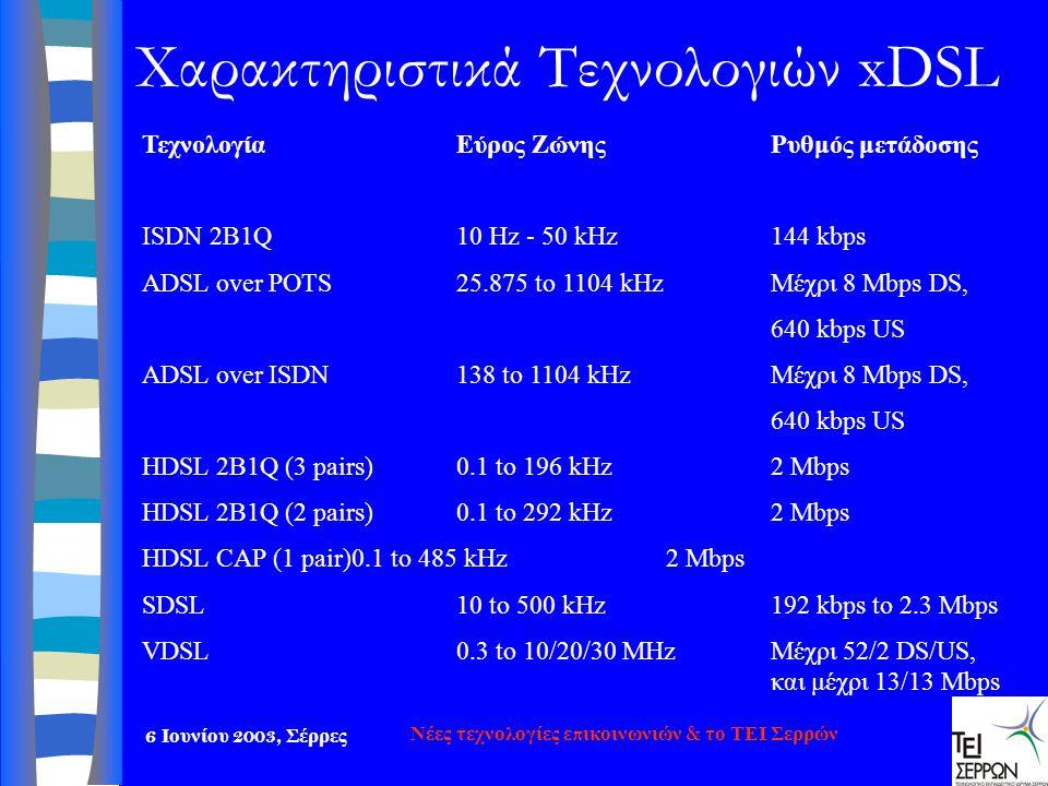 Χαρακτηριστικά Τεχνολογιών xDSL