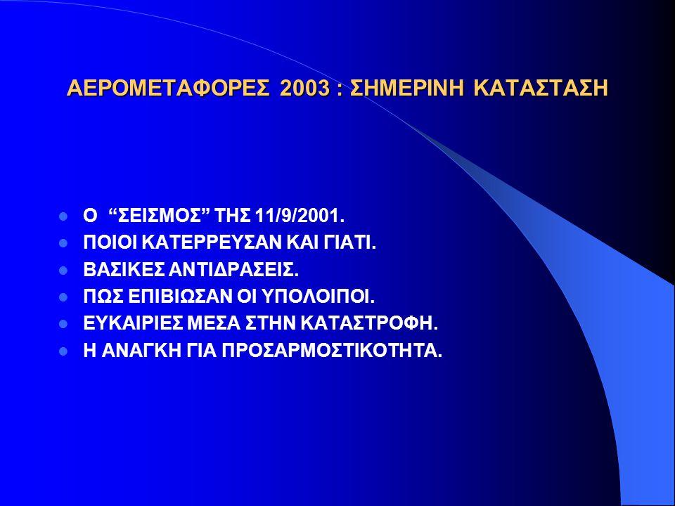ΑΕΡΟΜΕΤΑΦΟΡΕΣ 2003 : ΣΗΜΕΡΙΝΗ ΚΑΤΑΣΤΑΣΗ