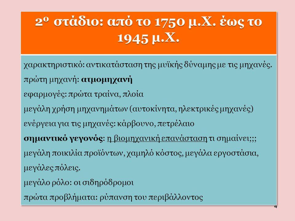 20 στάδιο: από το 1750 μ.Χ. έως το 1945 μ.Χ.