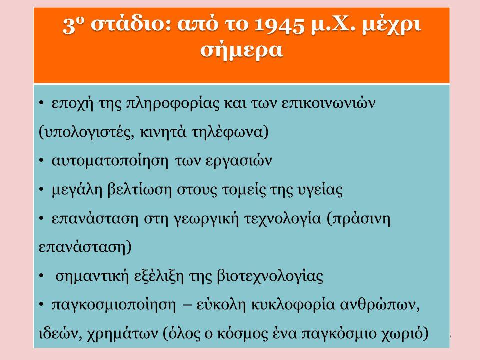 3ο στάδιο: από το 1945 μ.Χ. μέχρι σήμερα