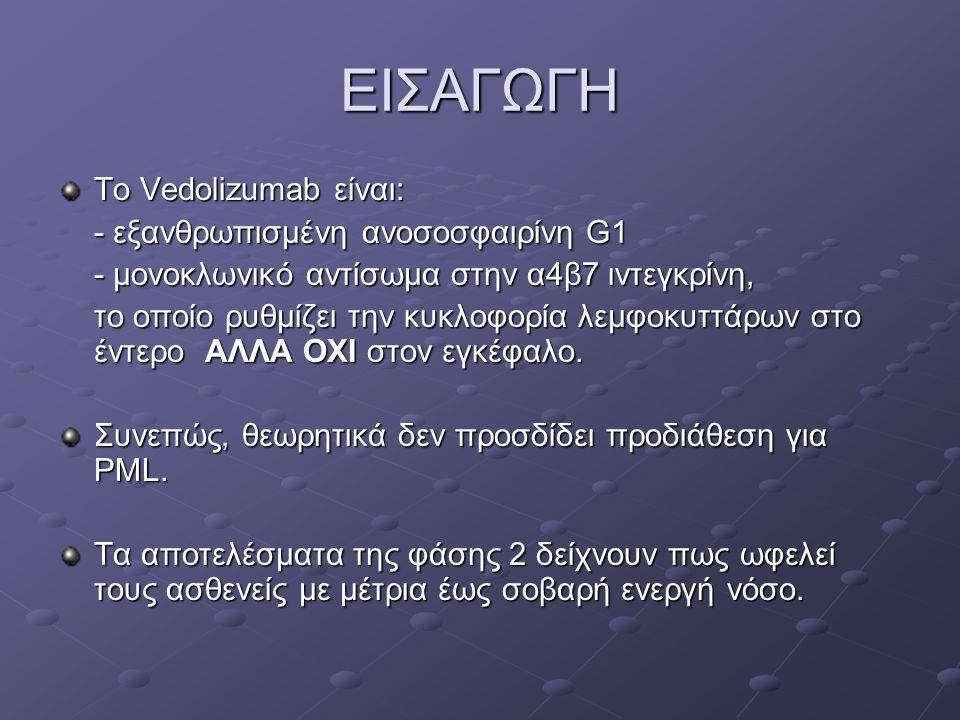 ΕΙΣΑΓΩΓΗ Το Vedolizumab είναι: - εξανθρωπισμένη ανοσοσφαιρίνη G1