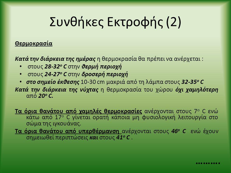 Συνθήκες Εκτροφής (2) ………. Θερμοκρασία