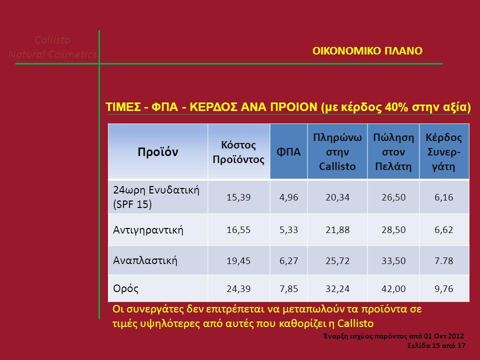 Προϊόν Callisto Natural Cosmetics ΟΙΚΟΝΟΜΙΚΟ ΠΛΑΝΟ