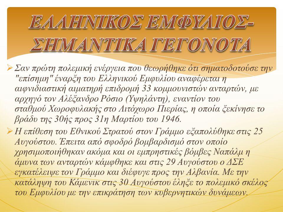 ΕΛΛΗΝΙΚΟΣ ΕΜΦΥΛΙΟΣ- ΣΗΜΑΝΤΙΚΑ ΓΕΓΟΝΟΤΑ