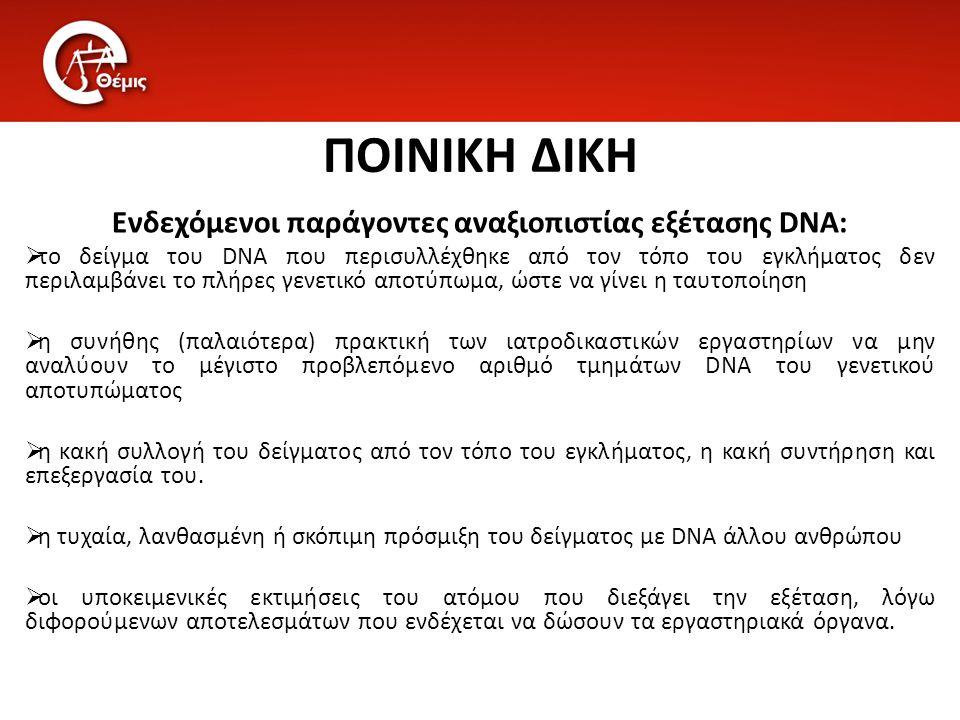 Ενδεχόμενοι παράγοντες αναξιοπιστίας εξέτασης DNA: