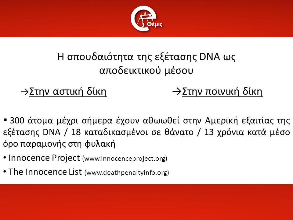 Η σπουδαιότητα της εξέτασης DNA ως αποδεικτικού μέσου