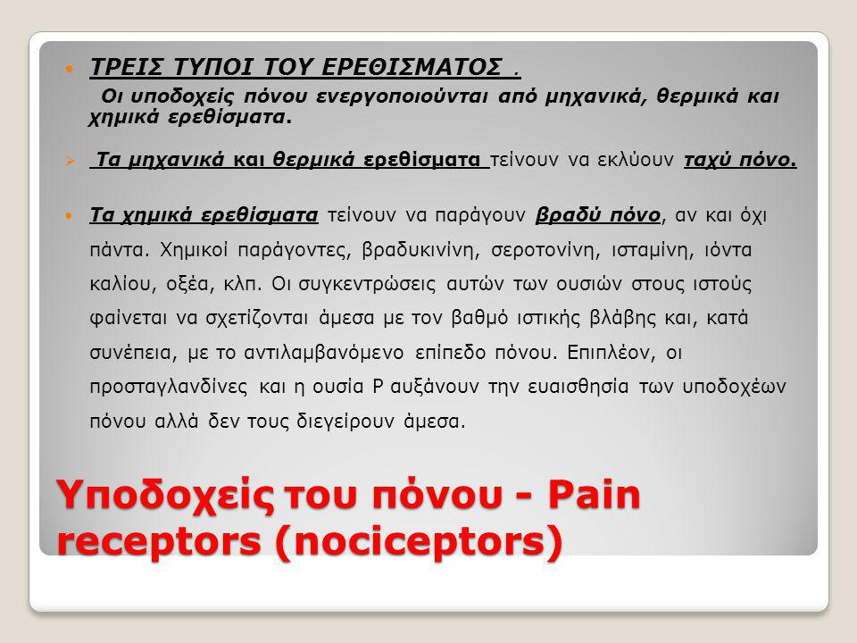 Υποδοχείς του πόνου - Pain receptors (nociceptors)