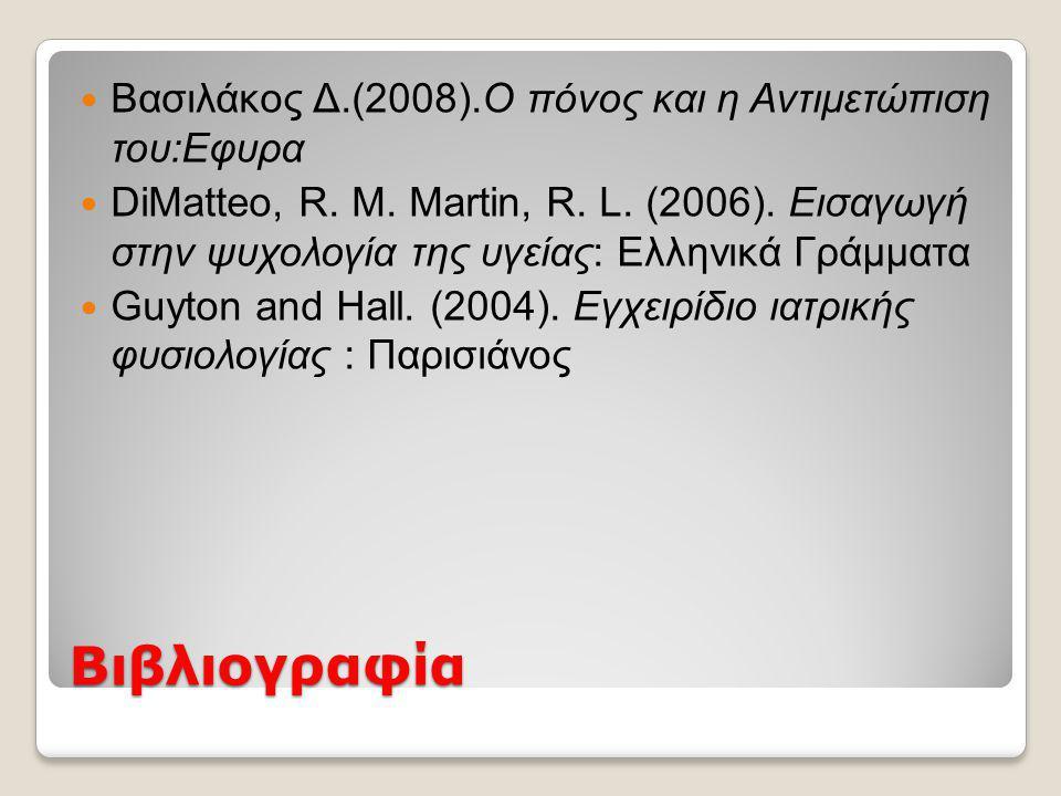 Βιβλιογραφία Βασιλάκος Δ.(2008).Ο πόνος και η Αντιμετώπιση του:Εφυρα