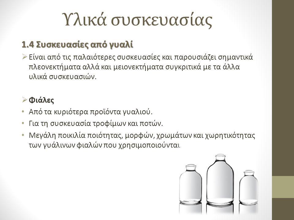 Υλικά συσκευασίας 1.4 Συσκευασίες από γυαλί