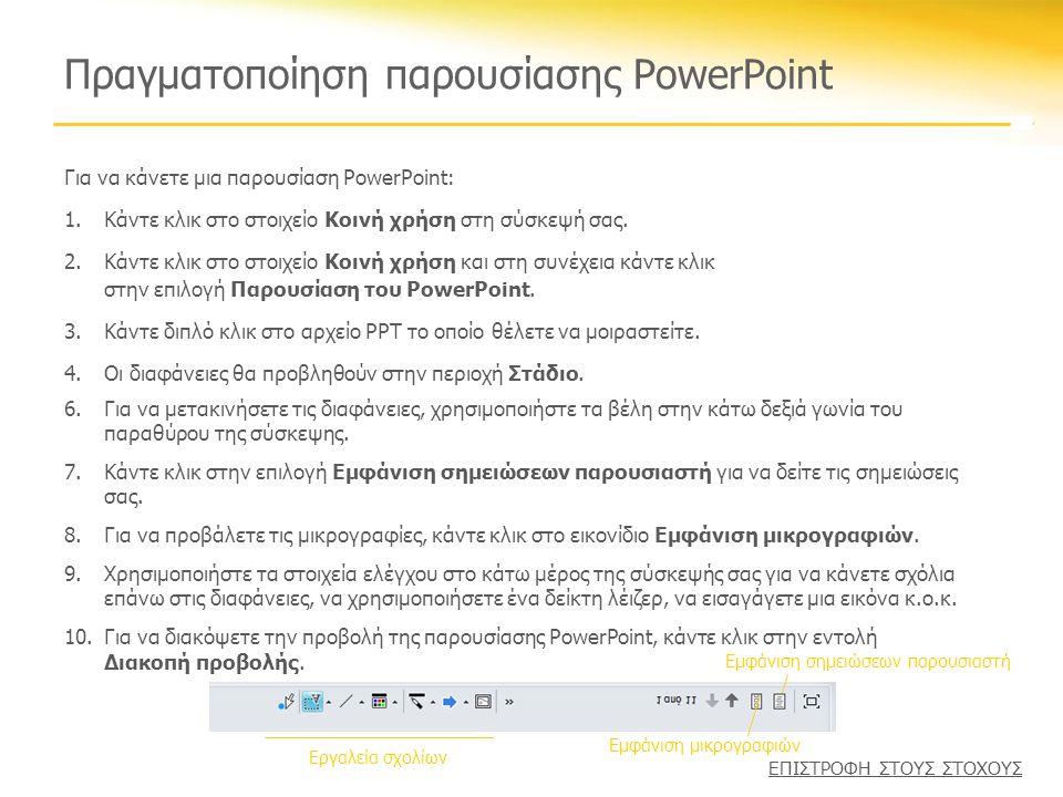 Πραγματοποίηση παρουσίασης PowerPoint